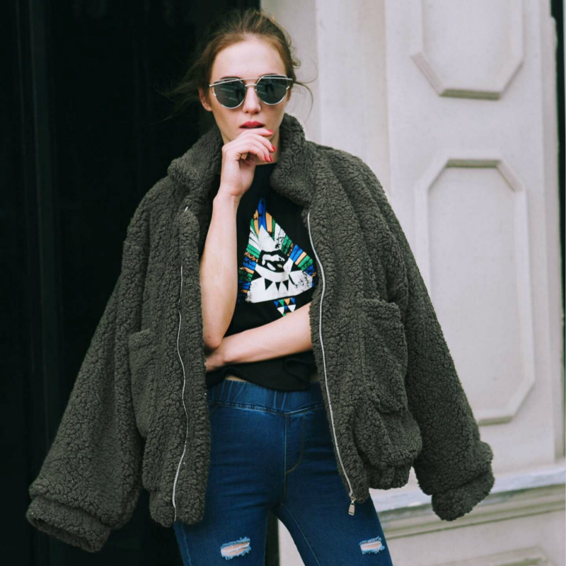Faux Fur Coat 2020 Casual Womens Tops Winter Ladies Coats Autumn Female Streetwear Leather Jackets Chaqueta Mujer LWL754