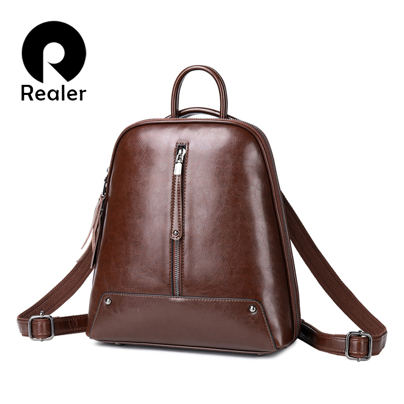 Realer women backpack school bags for teenager girls leather vintage school backpack large capacity mochila shoulder bags 2019-in Backpacks from Luggage & Bags
