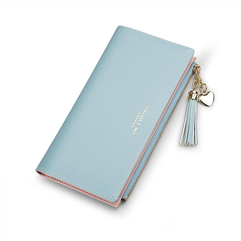 Женский кошелек с кисточками, длинный милый кожаный кошелек с кисточками, женские кошельки на молнии, Женский кошелек, клатч, Cartera Mujer - Цвет: Blue