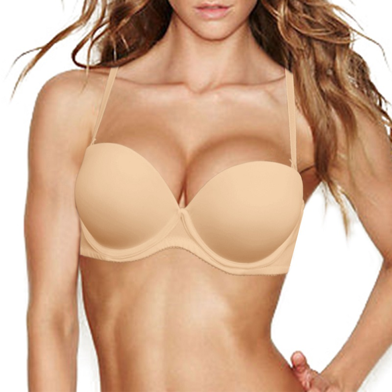 Backless Push up Padded Bra Multiway Strapless Underwired Underwear Size A-F Cup