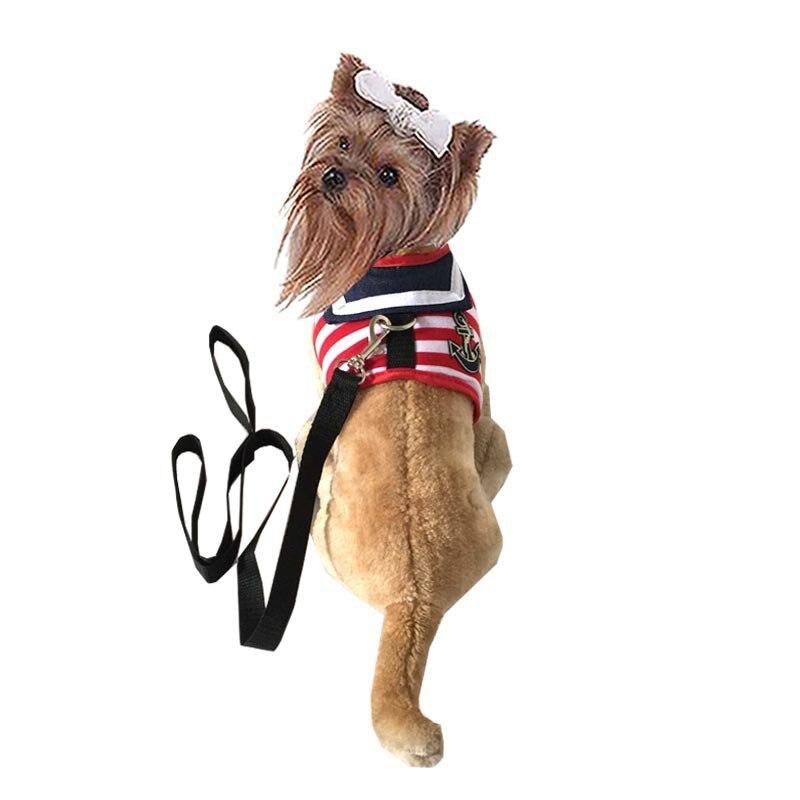 Pet's Chest-back Dog Traction Belt Sailor Stripes Chest And Back Traction Belt Hand Holding Rope Dog Supplies