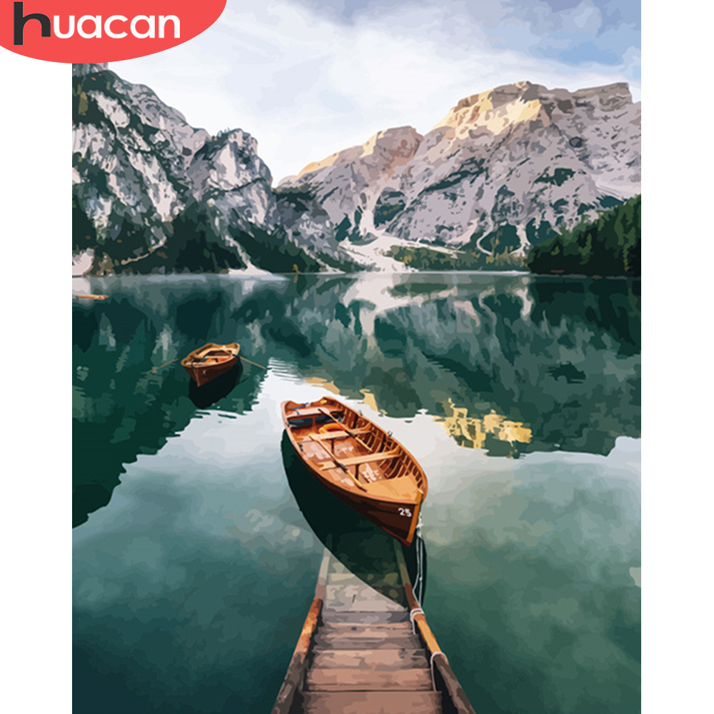 HUACAN DIY Pictures By Numbers Mountain Scenery Oil Painting Lake Landscape Kits Drawing Canvas HandPainted Art Home Decoration