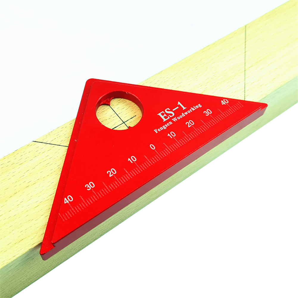 Professional Center Scribe Ruler Wooden Table Tester Ruler 45 Degree Angle Ruler Measuring Tool Aluminum Alloy Woodworking Tools Leather Bag