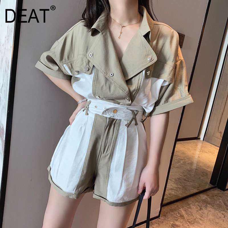 [DEAT] 2020 New Fashion Korean Women's Suit Safari Mid Sleeve Bouble Breasted Loose Top Short Color Block Two Piece Set AP384