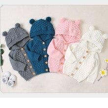 Pudcoco/Очаровательные однотонные свитера с капюшоном и пуговицами для маленьких мальчиков и девочек осеннее вязаное пальто, одежда для детей от 3 до 24 месяцев