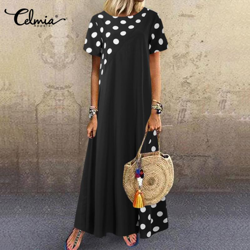 Celmia Plus Size Summer Dress Women Bohemian Dot Printed Sundress Short Sleeve Casual Loose Beach Maxi Long Vestidos Kaftan Robe