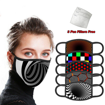 PM 2.5 Filter Reusable 3D Printing Mask With Free Filters Gift Cloth Cotton washable face mask for adult mouth masks