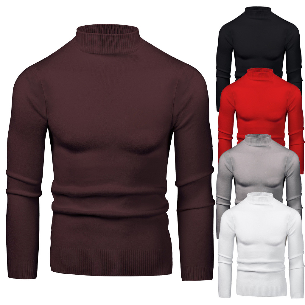 Men Round Neck Low Collar Large Elastic Long Sleeve Bottoming Sweater S-2XL Plus Size Autumn Winter Sueter Hombre Pullover Men