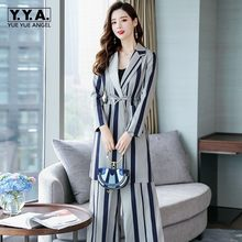 Office Ladies New Striped Two Piece Set Women Business Work Outfits Long Blazer Coat Belted Trench Slim Fit Wide Leg Pants Suits(China)