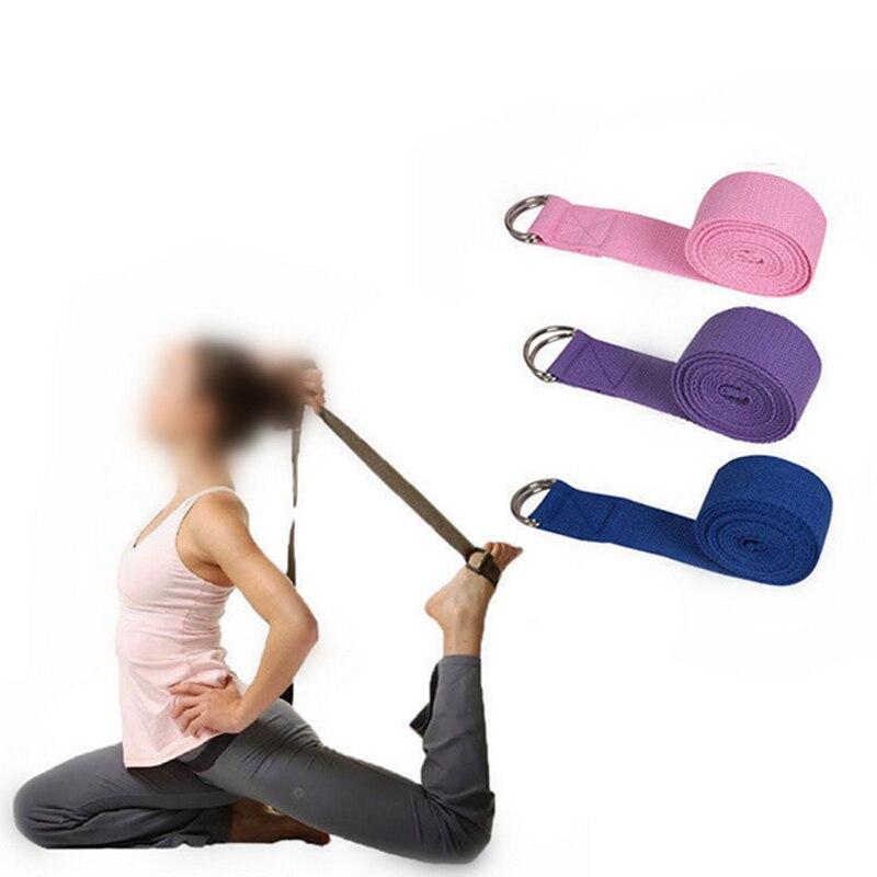 Fitness Yoga Belt Sport Exercise 2.5cm*185cm Adjustable Stretch Strap D-Ring Belts Waist Leg Gym 3 Colors