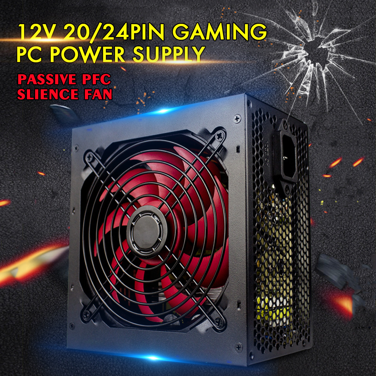 LEORY 650W Power Supply Passive PFC Silent Fan ATX 20/24pin 12V PC Computer SATA Gaming PC Power Supply