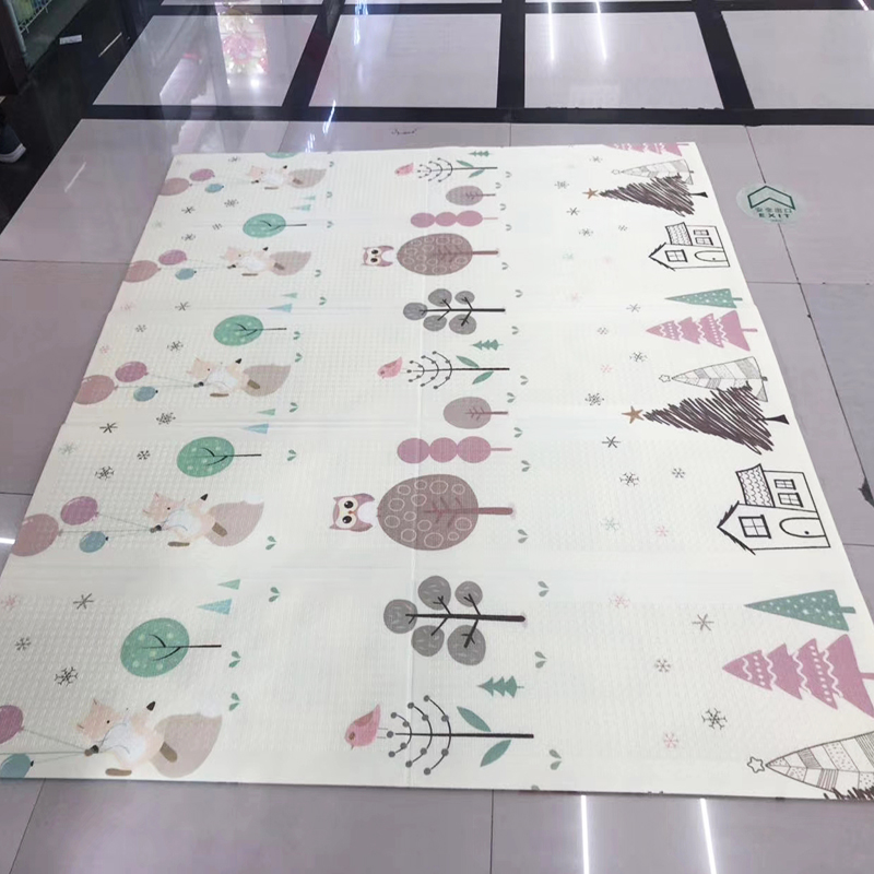 200*150cm Reversible Baby Play Mat  Cartoon Double-Sided Crawling Mat XPE Foldable Waterproof Portable Soft Floor Toddlers