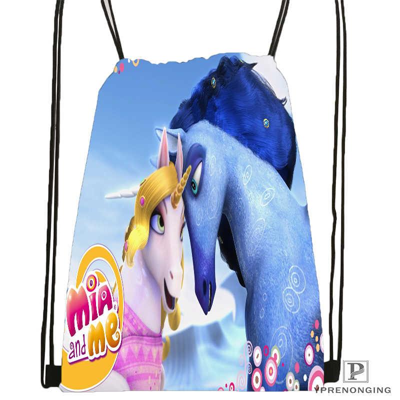 Nach Mia Und Cartoon Mir Kordelzug Rucksack Tasche Niedlich Daypack Kinder Satchel (Schwarz Zurück) 31x40cm #180531-02-06