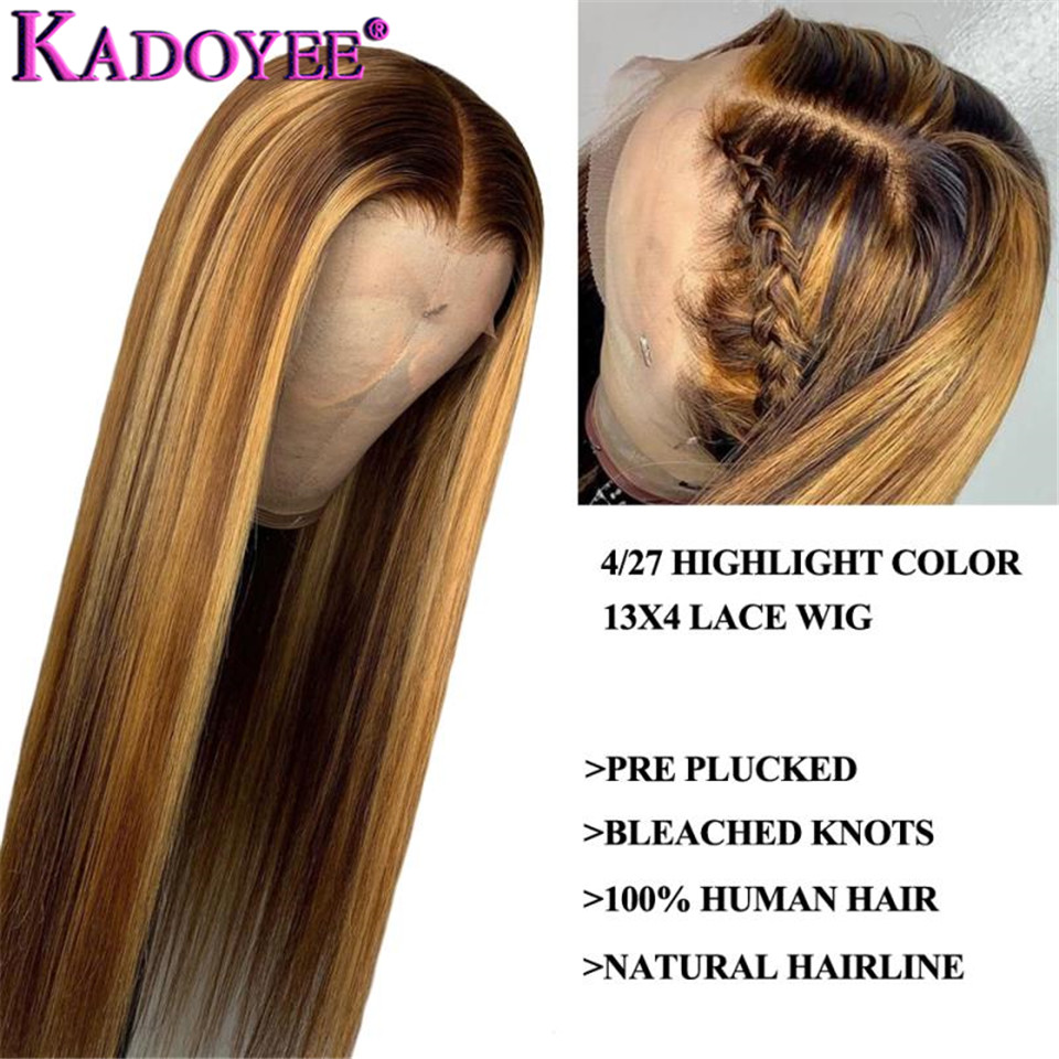 Image 4 - Straight Lace Front Human Hair Wigs Pre Plucked Ombre Honey Blond Highlights Wig Malaysia Remy 13x4 Lace Front Wigs for WomenHuman Hair Lace Wigs   -