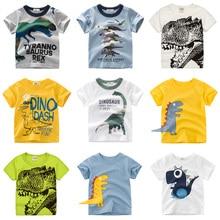 Футболки с рисунками для мальчиков и девочек; детская футболка с принтом динозавра для мальчиков; Детская летняя футболка с короткими рукавами; хлопковые топы; одежда