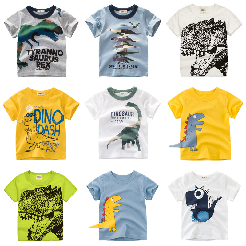 Boys & Girls Cartoon T-shirts Kids Dinosaur Print T Shirt For Boys Children Summer Short Sleeve T-shirt Cotton Tops Clothing title=