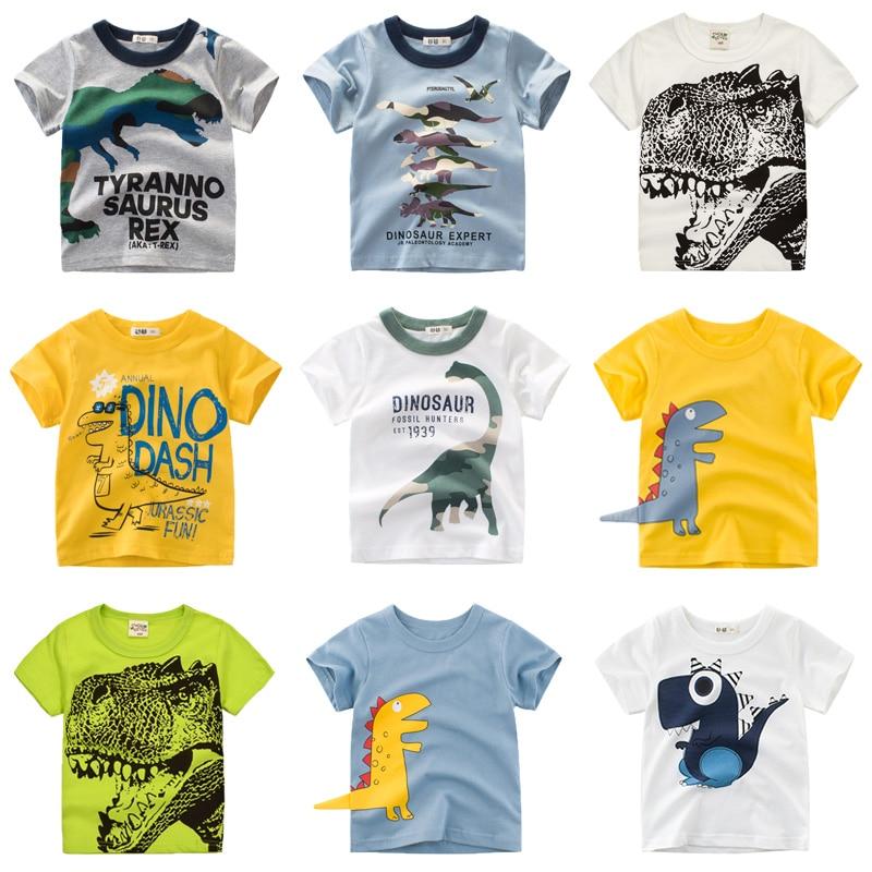 Camisetas de dibujos animados para niños y niñas, Camiseta con estampado de dinosaurio para niños, camiseta de verano de manga corta, camisetas de algodón, ropa