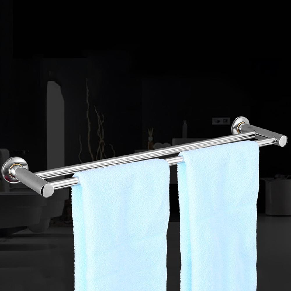 Double Pole Stainless Steel Towel Bar Rod Stainless Steel Towel Rack Bathroom Hotel Shelf Towel Rack 50cm