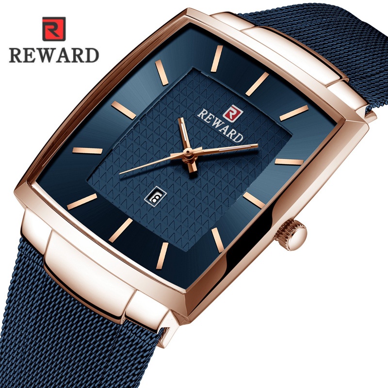 REWARD Square Watch Men Waterproof Slim Mesh Military Wrist Watches For Men Quartz Sports Business Male Watch Relogio Masculino
