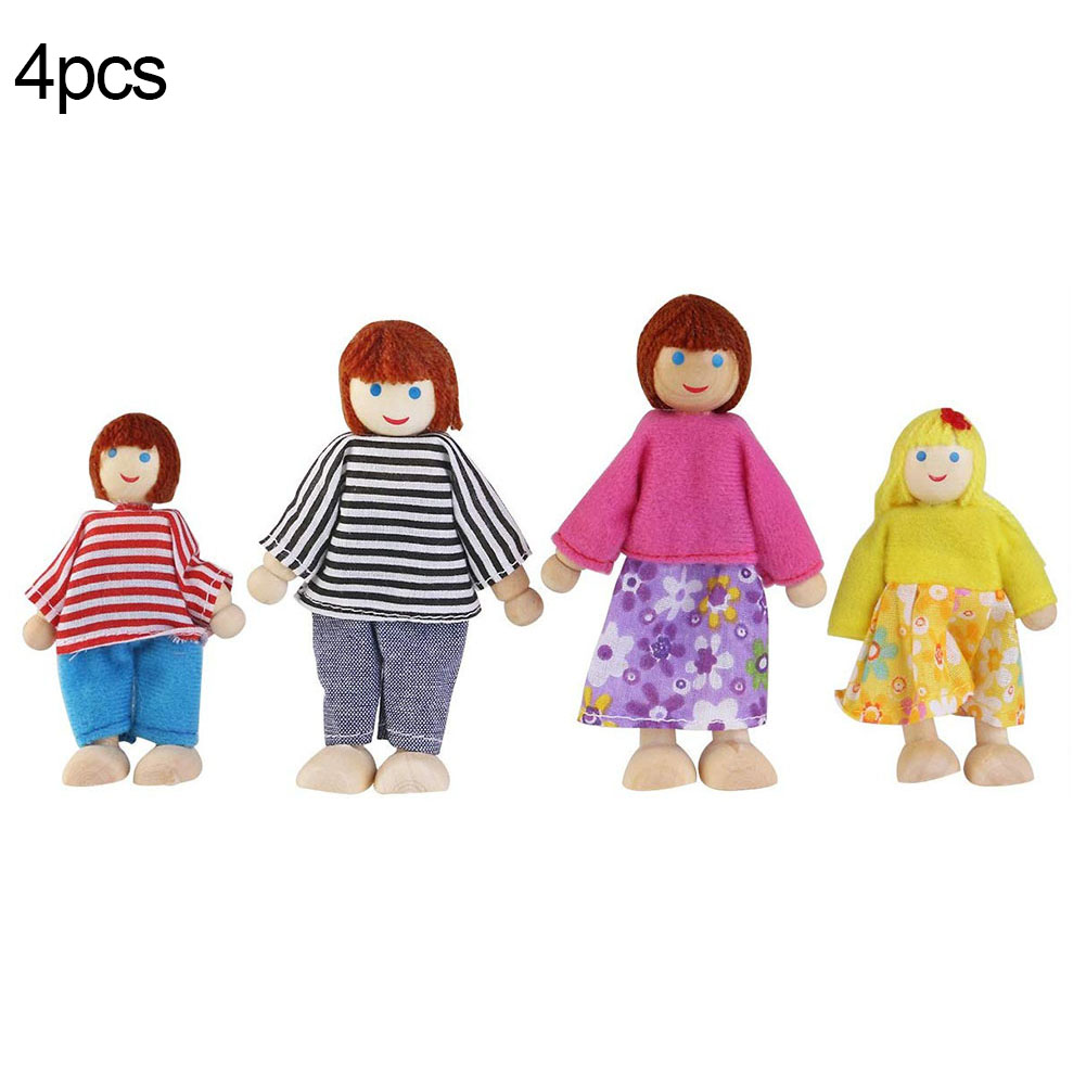 Cute Wooden Happy Family Dressed Puppet Flexible Joints Doll House Accessory Kids Toy Birthday Gift 9