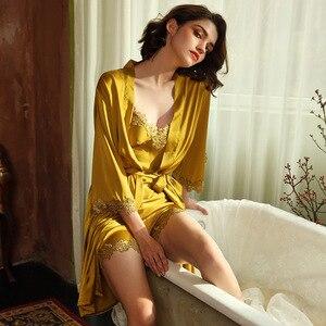 Image 3 - JULYS şarkı 5 adet kadın pijama setleri zarif seksi dantel sahte ipek pijama kadın leke ilkbahar yaz sonbahar elbise ev tekstili