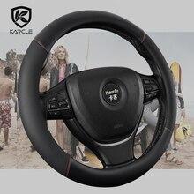Car Steering Wheel Cover Leather 38CM Auto Steering Wheel Cover For Kia Picanto Sorento Forte Cerato Rio Soul K2 K3 Ceed 15Inch