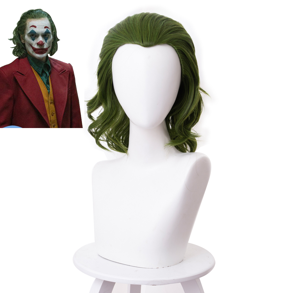 2019 Joker Movie Clown Batman Joker Wig Cosplay Joaquin Phoenix Arthur Fleck Curly Green Synthetic Hair