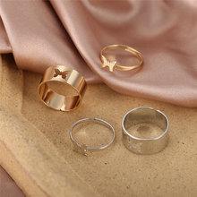 Anéis de borboleta de moda do punk para as mulheres ouro prata cor amante casal conjunto anel de borboleta abertura noivado jóias de casamento
