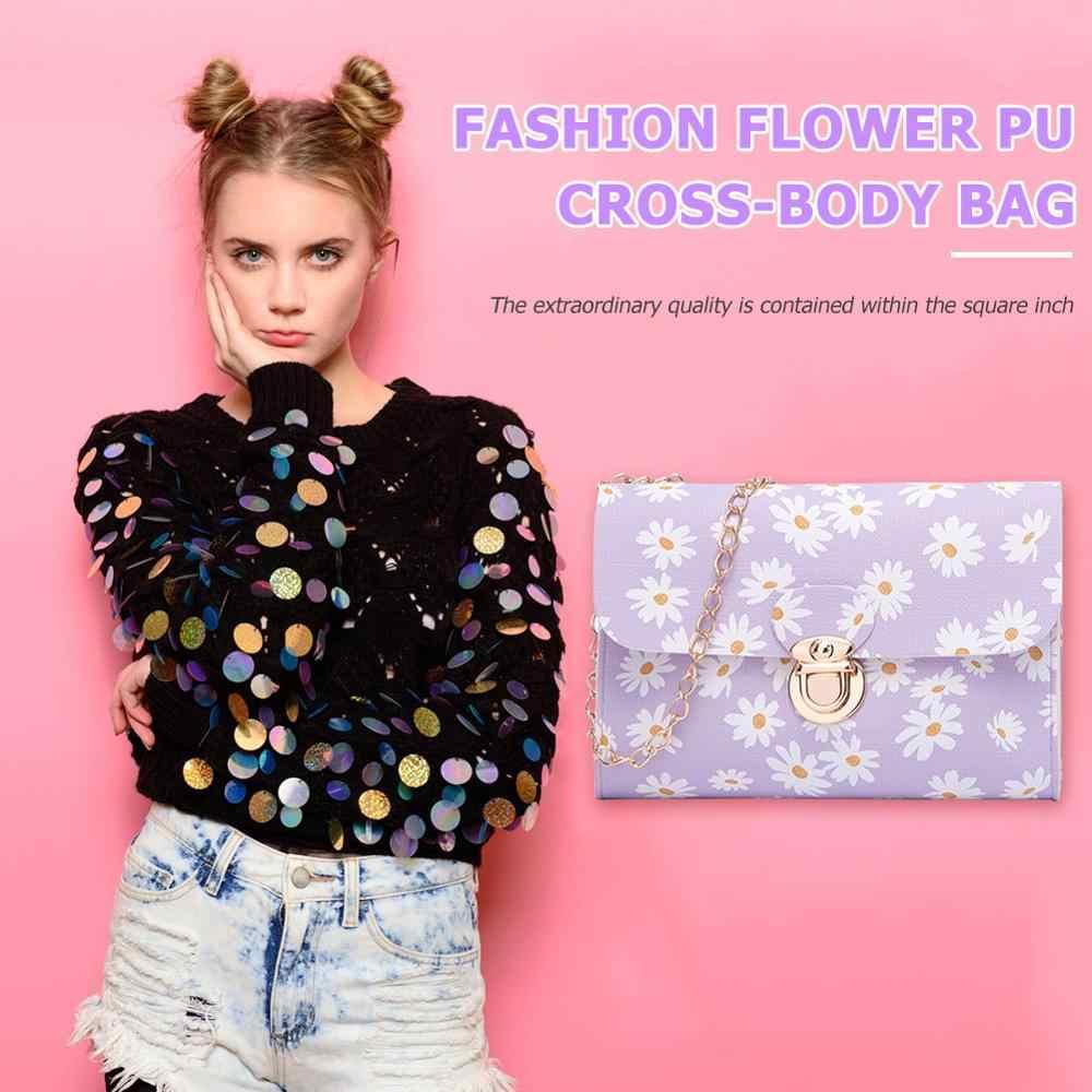 Stokrotka kwiat PU skóra Crossbody torba damski łańcuszek mała kwadratowa torba na ramię kobieta torba typu Messenger pokrowiec Tote