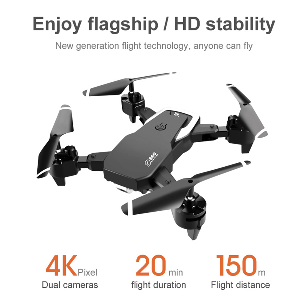 S60 4K 1080P Video Gimbal Full HD Dual Camera Professional RC Drone FPV 2 4G WIFI Quadcopter One Key Return Foldable