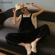 Jumpsuits Women Loose Ulzzang Korean Style Chic Solid Simple Pockets Leisure All