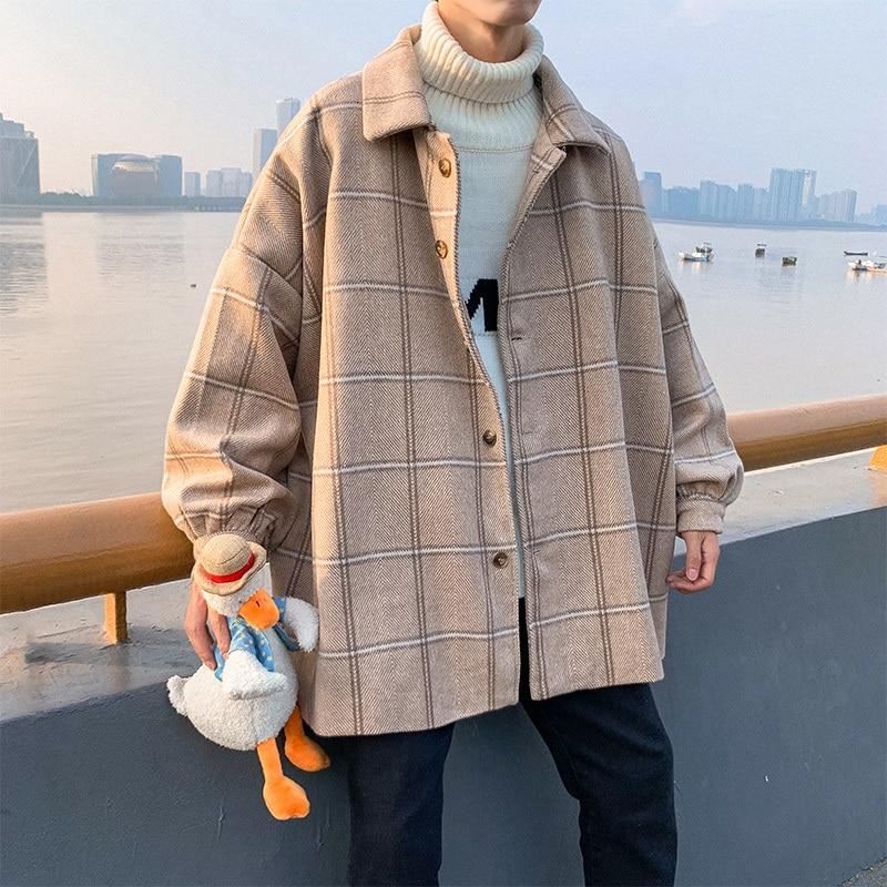 New Plaid Coat Men Fashion Retro Casual Woolen Jacket Men Streetwear Wild Loose Overcoat Male Clothes M-2XL