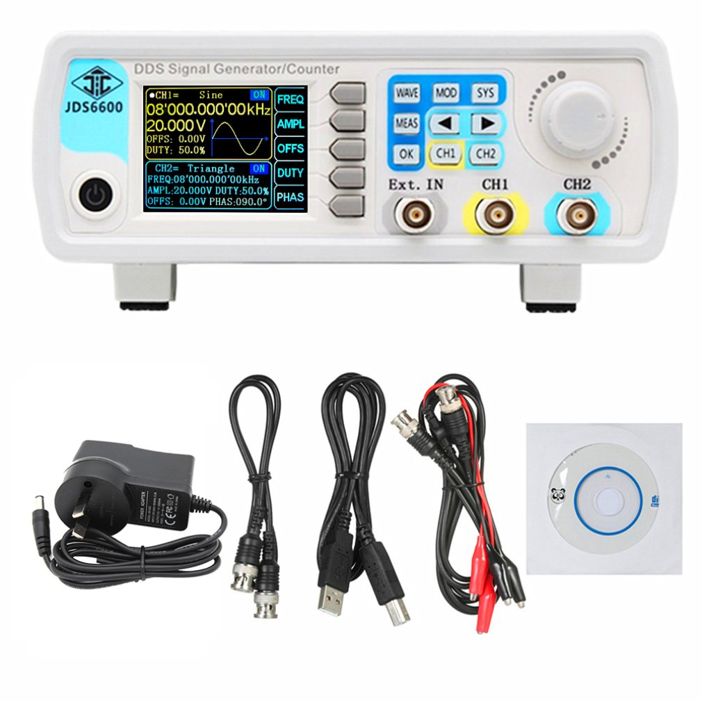 JDS6600 60MHz contrôle numérique DDS double canal arbitraire forme d'onde générateur de Signal fonctionnel compteur de fréquence haute précision