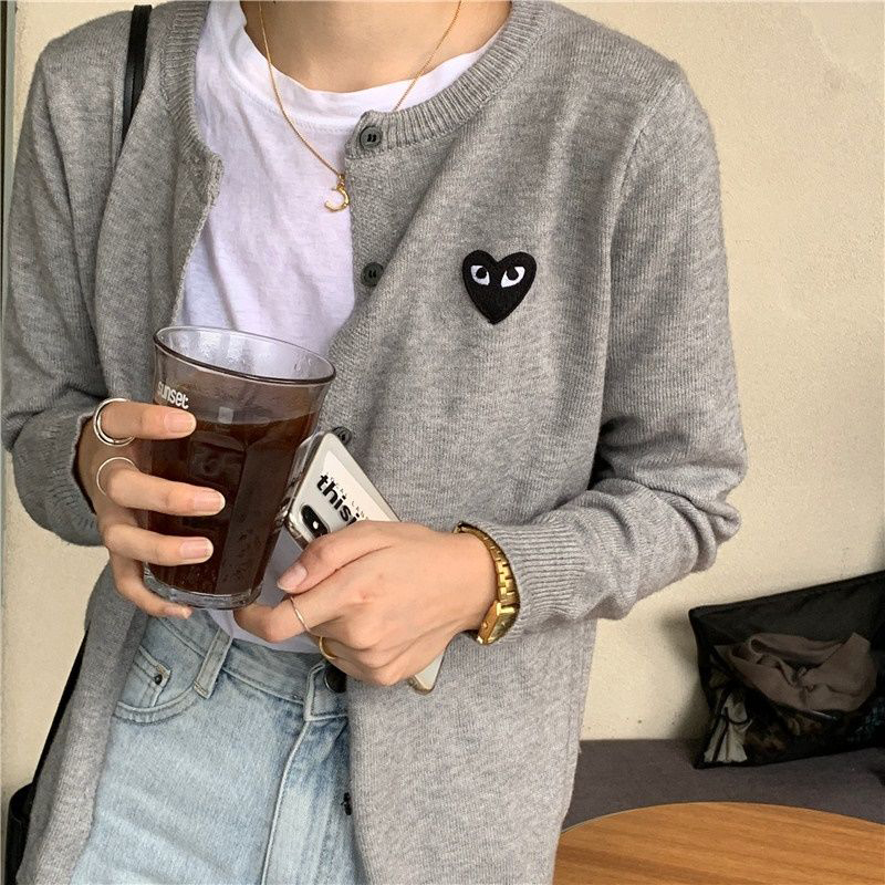 Women Cardigan Love Peach Heart Sweater Autumn  Korean Long-sleeved Round Neck Slim Embroidery  Single-breasted Fashion Sweater