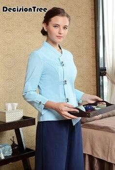 2020 chinese style thai massage spa salon uniform female beauty club working clothing women top+pants sets beautician workwear