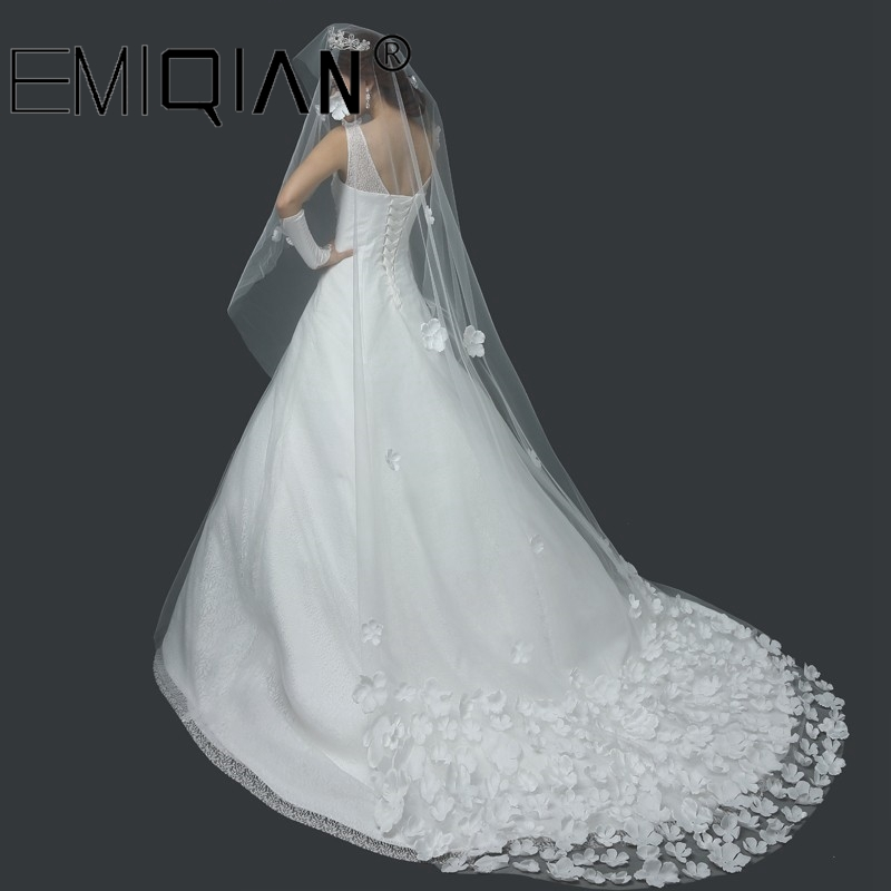 Hot Sale Long Veils For Weddings 3 Meters Long Bridal Veil Cathedral Wedding Veil