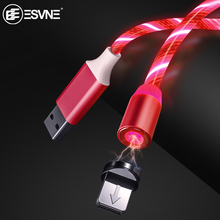 ESVNE LED Light Magnetic Cable For iphone Usb Charging Type C Micro Fast Smartphone