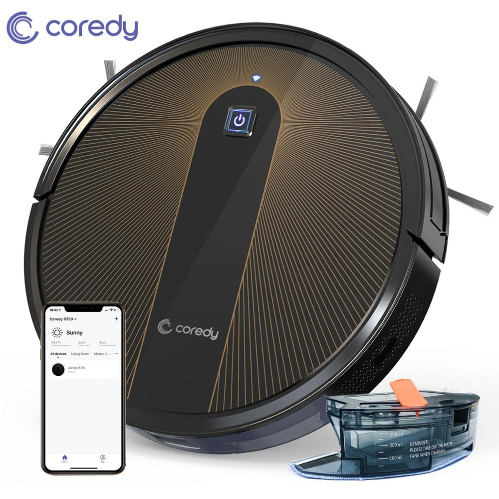 Coredy R750 Robot Vacuum Cleaner Auto Smart Wet Floor Carpet Sweeping Planned Home With Alexa Google Assistant Wifi APP Control