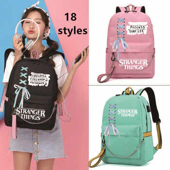 IMIDO Stranger Things Student Backpacks Large Capacity Breathable School Bag With USB Charging Chain&Bow-knot Backpack For Girl - DISCOUNT ITEM  48 OFF Luggage & Bags