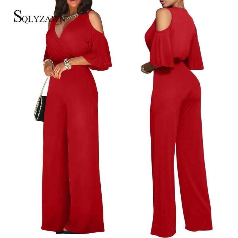 Vrouwen Sexy Off Shoulder Flare Mouw Palazzo Wijde Pijpen Broek Jumpsuit Vintage Elegante Losse Romper Streetwear V-hals Lange Overall