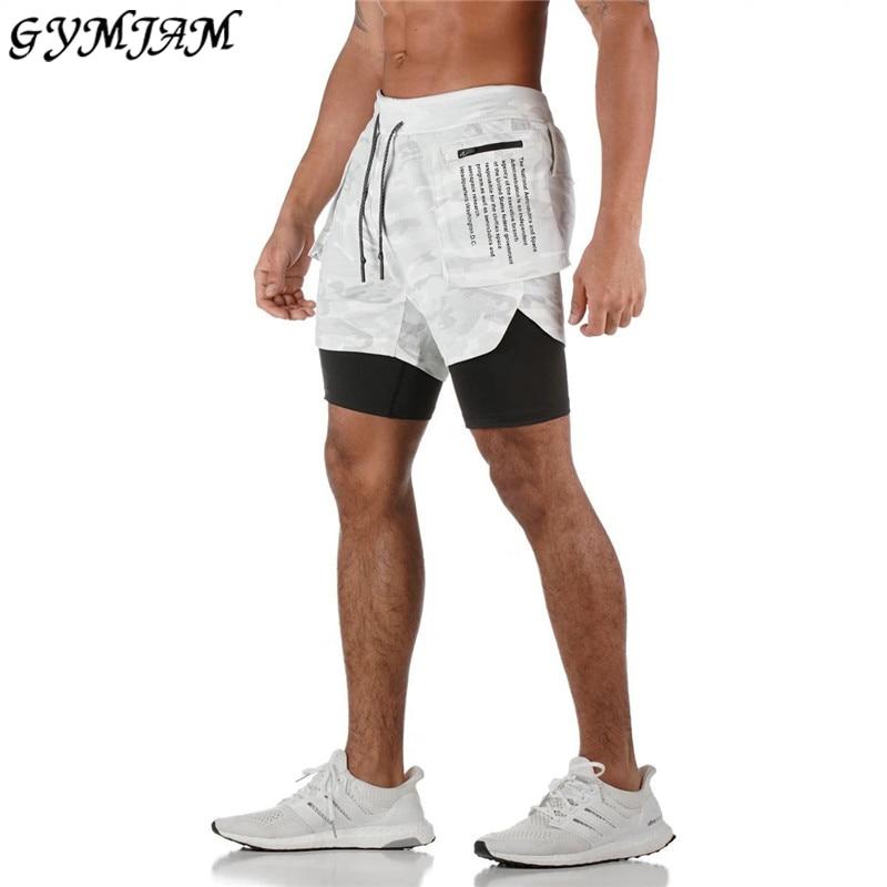 2020 New Fashion Pocket Print Double Layer Men's Shorts Casual Men's Sports Pants Muscle Men's Brand Jogger Fitness Pants