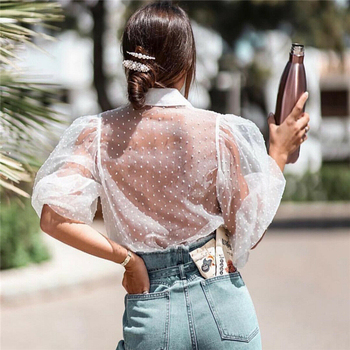 2019 Hot Sale White Transparent Sexy Women Hollow Sheer Mesh Puff Sleeve Blouse Lace Shirt Button Tops Perspective Female Shirt 8