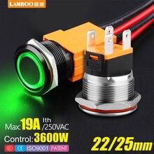 LANBOO сверхмощный 12 в 24 в 110 В 220 В 15а высокий ток водонепроницаемый IP67 мощный Выключатель без фиксации кнопочный переключатель