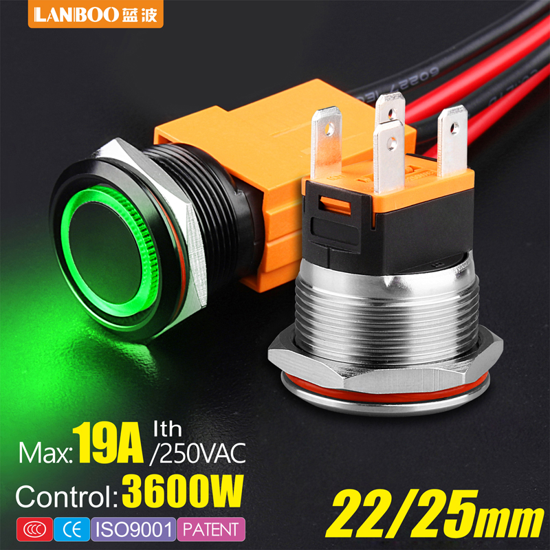 LANBOO heavy duty 12V 24V 110V 220V 15A high current waterproof IP67 high-power control momentary latching push button switch(China)