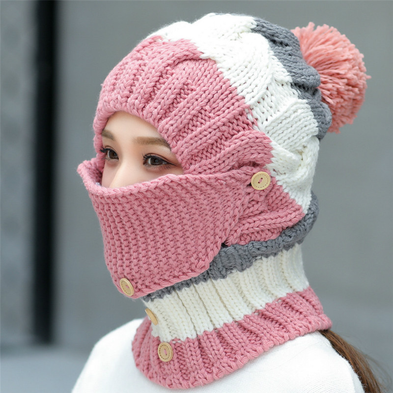 H7518 Autumn Winter Plus Velvet Knitted Wool Hat Neck Mask Protection Three Pieces Women Cycling Riding Outdoor Warm Casual Cap