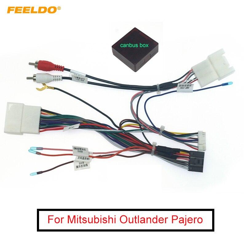 FEELDO автомобильный 16pin аудио жгут проводов с Canbus коробка для Mitsubishi Outlander Pajero стерео Установка провода адаптер