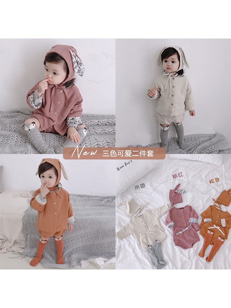 Hat Hemp Toddler Pant Coat Short Long-Sleeve Children Cotton'leisure-Suit And Babies