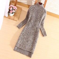 Модный зимний осенний Женский Повседневный джемпер с длинным рукавом и высоким воротником, свободный свитер одного размера, платье