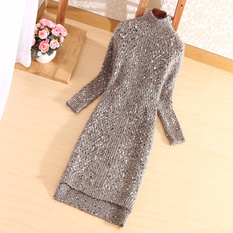 Fashion Winter Autumn Womens Casual Long Sleeve Jumper Turtleneck Loose One Size Sweaters Dress