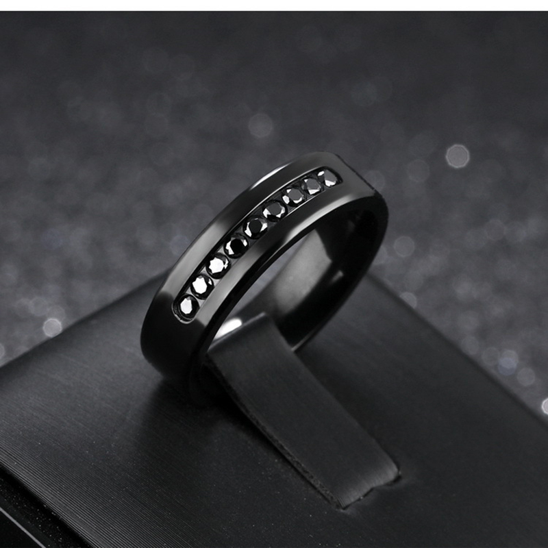 Misheng Brand Korean Stainless Steel Fashion Men 39 s Black Ring Inlaid With Zircon Gentleman Style Jewelry for Boyfriend 39 s Ring in Rings from Jewelry amp Accessories